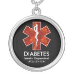 Diabetes Medical ID Necklace - Customizable
