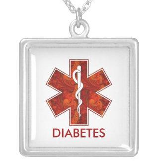 Diabetes Medical   Necklace: Customizable Square Pendant Necklace