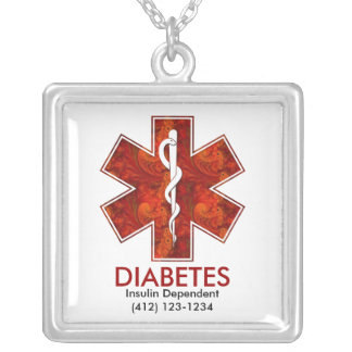 Diabetes Medical Square Pendant: Customizable Square Pendant Necklace