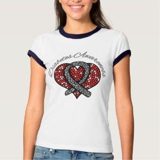 Diabetes Mosaic Heart Ribbon shirt