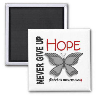 Diabetes Never Give Up Hope Butterfly 4.1 2 Inch Square Magnet