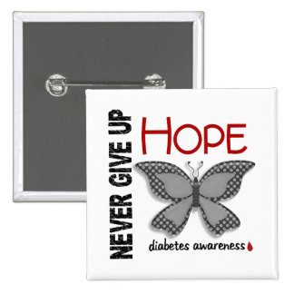 Diabetes Never Give Up Hope Butterfly 4.1 Pin