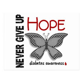 Diabetes Never Give Up Hope Butterfly 4.1 Postcard