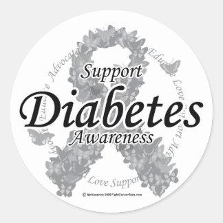 Diabetes Ribbon of Butterflies Classic Round Sticker