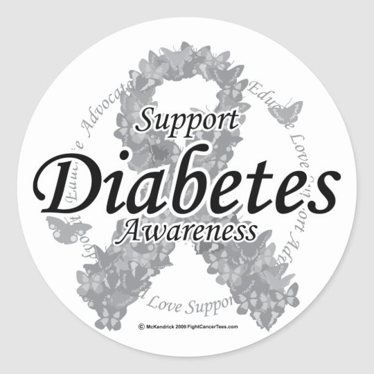 Diabetes Ribbon of Butterflies Classic Round Sticker