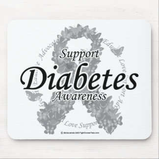 Diabetes Ribbon of Butterflies Mouse Pad