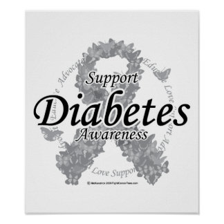 Diabetes Ribbon of Butterflies Poster