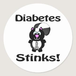 Diabetes Stinks Skunk Awareness Design Classic Round Sticker