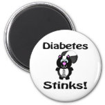 Diabetes Stinks Skunk Awareness Design 2 Inch Round Magnet