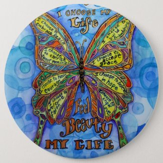 Diabetes Support My Life Butterfly Poem Buttons