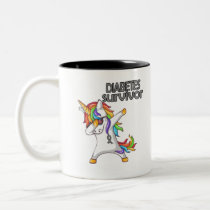 DIABETES Survivor Stand-Fight-Win Two-Tone Coffee Mug
