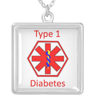 Diabetes symbol silver plated necklace