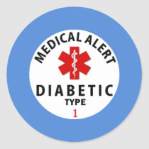 DIABETES TYPE 1 CLASSIC ROUND STICKER
