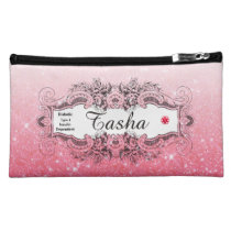 Diabetes Type 1 Pink Faux Glitter Cosmetic Bag