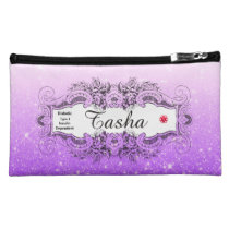 Diabetes Type 1 Purple Faux Glitter Cosmetic Bag