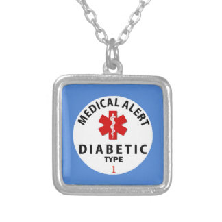 DIABETES TYPE 1 SILVER PLATED NECKLACE