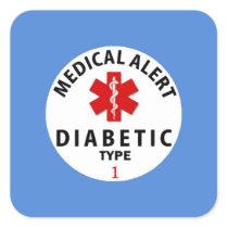 DIABETES TYPE 1 SQUARE STICKER