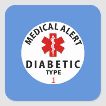 DIABETES TYPE 1 SQUARE STICKER