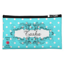 Diabetes Type 1 White Dots On Blue Cosmetic Bag