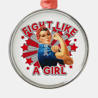 Diabetes Vintage Rosie Fight Like A Girl Round Metal Christmas Ornament
