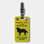 Diabetic Alert Dog ID Travel Bag Tags