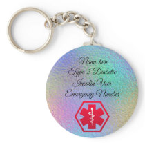Diabetic Alert Personalized Type 1 or 2 Keychain