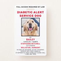 Diabetic Alert Service Dog Photo ID Badge