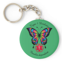Diabetic Alert Type 1 or 2  Personalize Butterfly Keychain