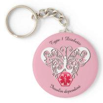 Diabetic Alert Type 1 or 2  Personalize Keychain