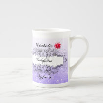 Diabetic Alert Type 1 or  Personalized Monogrammed Tea Cup