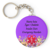 Diabetic Floral Alert Personalized Type 1 or 2 Keychain