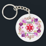 "Diabetic Floral Medical Alert  Type 1 Keychain<br><div class=""desc"">A beautiful Diabetes Medical Alert Type 1 or 2 .Floral key ring. Just fill in the name and diabetic type in the name and type fields to personalize. This Medical alert will give you a sense of security knowing that even if you are unable too, this medical alert can let...</div>"
