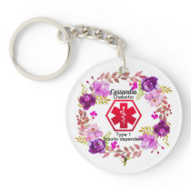 Diabetic Floral Medical Alert  Type 1 Keychain