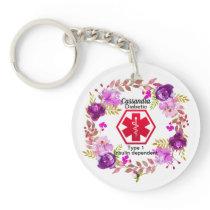 Diabetic Floral Medical Alert  Type 1 Keychain