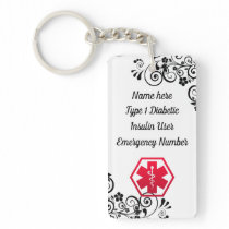 Diabetic Floral  Medical Alert  Type 1 or 2 Keychain