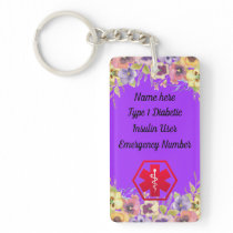 Diabetic Floral Pansy  Medical Alert  Type 1 or 2 Keychain