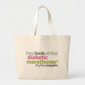 Diabetic Marathoner - I Run On Insulin Large Tote Bag