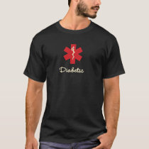 Diabetic Medical Alert Black  T-Shirt