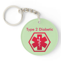 Diabetic Medical Alert Keychain