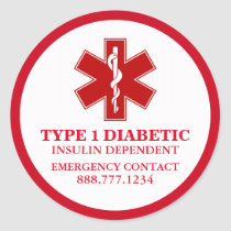 Diabetic Medical Information Classic Round Sticker