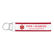 Diabetic Medical Information Wrist Keychain