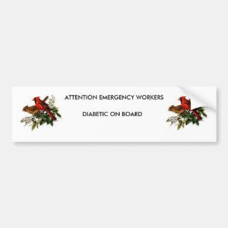 Diabetic on board bumper sticker