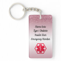 Diabetic Pink Glitter Medical Alert  Type 1 or 2 Keychain