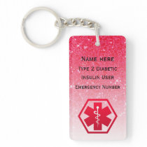 Diabetic Pink Medical Alert  Type 1 or 2 Keychain