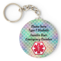 Diabetic Rainbow Alert Personalized Type 1 or 2 Keychain