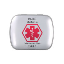 Diabetic Type 1 or 2  Personalized Medical Alert Candy Tin