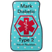 Diabetic Type 1 or 2  Personalized Medical Alert Car Floor Mat