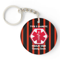 Diabetic Type 1 or 2  Personalized Medical Alert Keychain