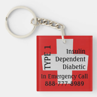 Diabético dependiente del TIPO 1 de la diabetes de Llavero Cuadrado Acrílico A Doble Cara
