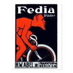 Diablo 1920 que monta una bicicleta tarjetas postales